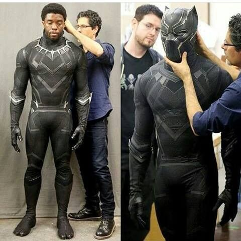 Chadwick Boseman's Black Panther costume test for CAPTAIN AMERICA: CIVIL WAR. (Andrew Gifford) #Marvel #comics #avengers