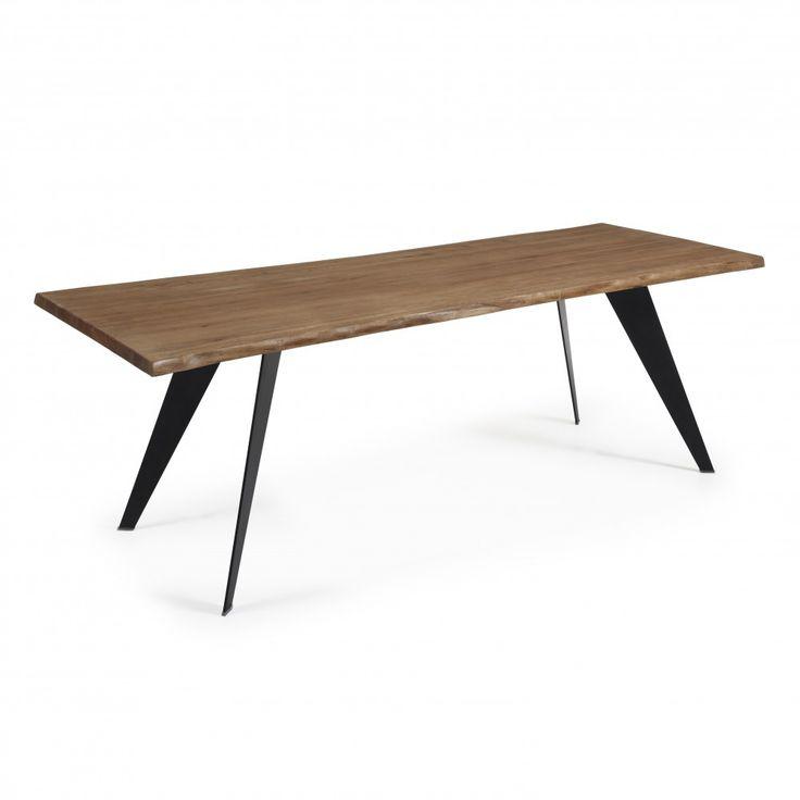 KODA Table 220x100 Epoxy Noir Chêne Vieilli - style industriel