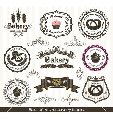 Set of vintage retro bakery labels vector 902898 - by ...