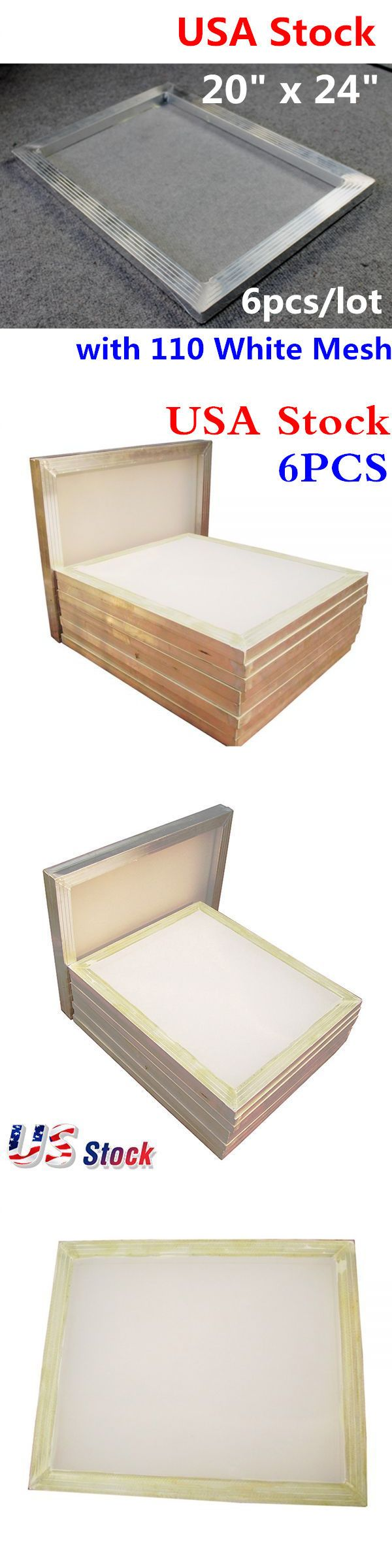 Screen Printing Frames 183114: Us Stock! 6 Pcs Lot- 20X24 Inch Aluminum Screen With 110 White Mesh -> BUY IT NOW ONLY: $82.77 on eBay!