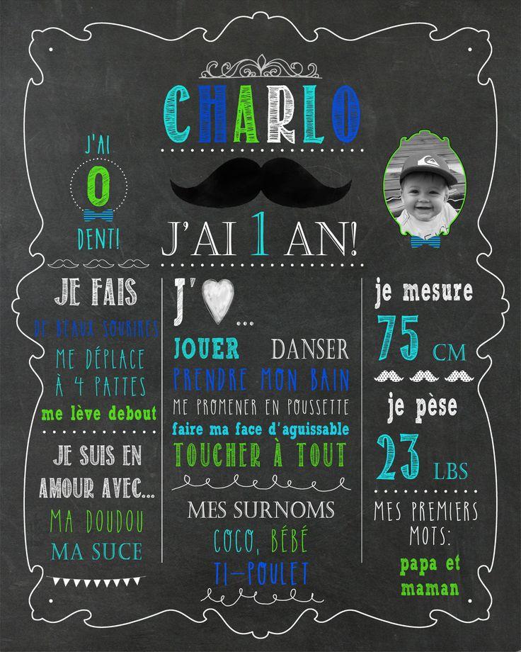 Affiche 1er anniversaire - thème moustache - fond d'ardoise_fichier numérique, fête 1 an, garçon, souvenir, smash the cake, décor photo de la boutique MOMYboutique sur Etsy