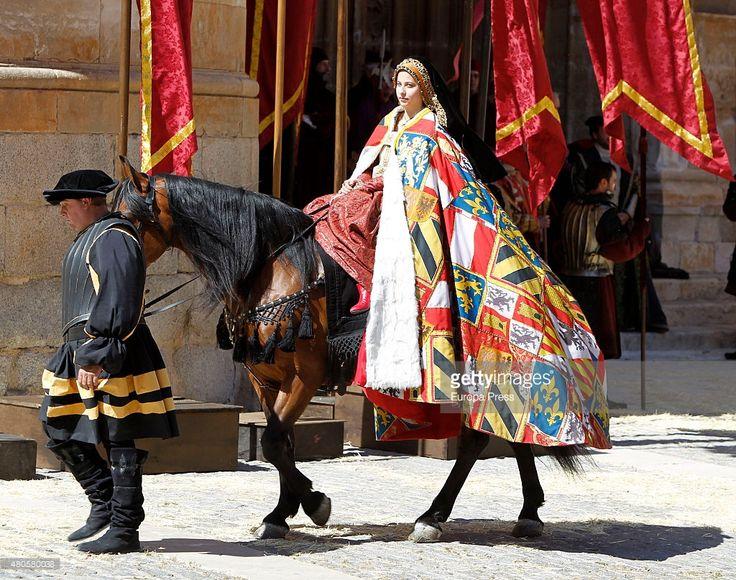 Irene Escolar is seen during the filming of 'La Corona Partida' in Torrelaguna on May 21, 2015 in Madrid, Spain.