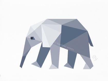 Elephant Baby, Geometric print, Original illustration, Animal print, Minimal art, Nursery wall art