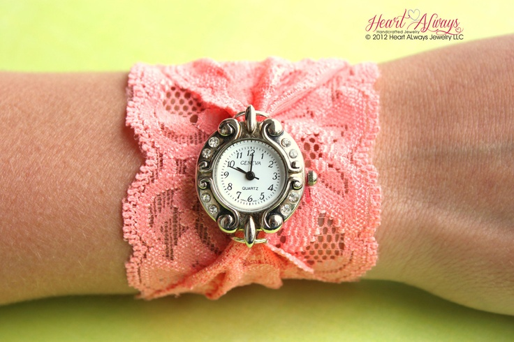 Coral Stretch Lace Watch by heartalwaysjewelry on Etsy, $32.99