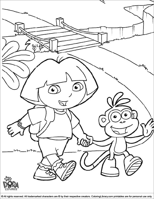 dora the explorer coloring page dora and boots walking holding hands