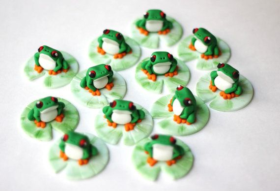 Fondant tree frogs. Tree frog topper Reptile by LesPopSweets