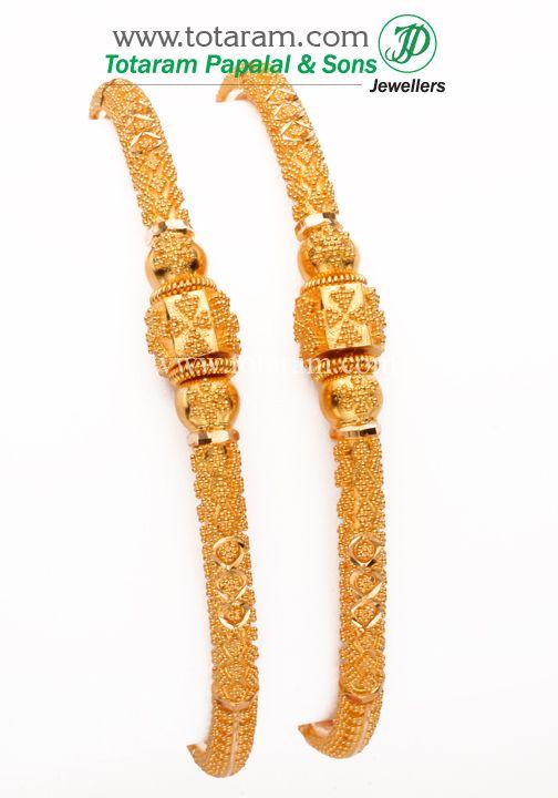 Totaram Jewelers: Buy 22 karat Gold jewelry & Diamond jewellery from India: 22K Gold Bangle - Set of 2(1 Pair).