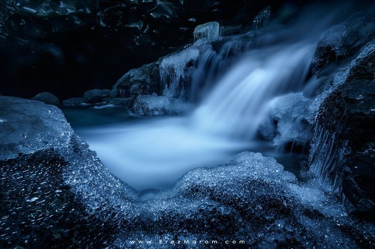 """A Mystery in Ice - A beautiful waterfall, surrounded by ice-crystals in a hidden, underground ice cave deep in Breiðamerkurjökull glacier.  To shoot some of the most amazing landscapes on earth, please see my <a href=""""http://www.erezmarom.com/index.php/photography-workshops"""">workshop page</a>.  Sony A7R Samyang 14mm f/2.8 Breiðamerkurjökull, Iceland"""
