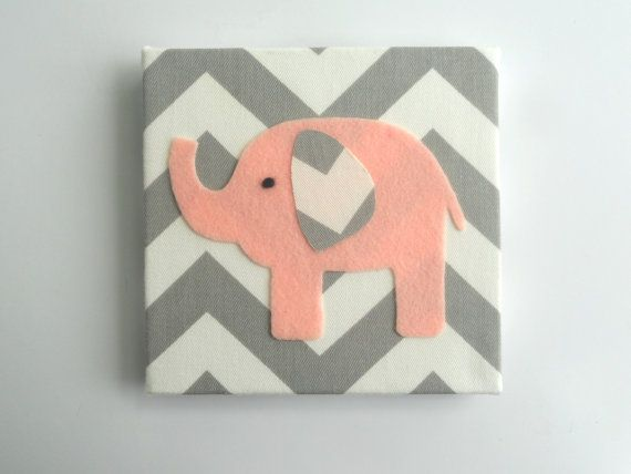 pink elephant wall decor  elephant nursery wall art