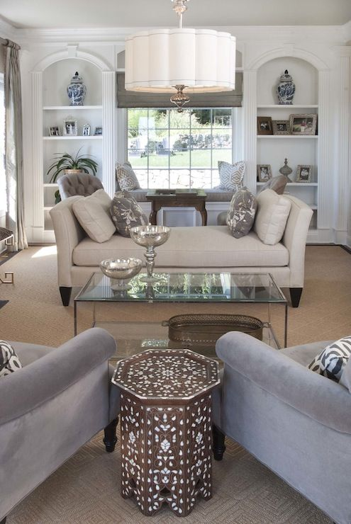 Papyrus Home Design: Chic living room with multiple sitting areas. Global Views