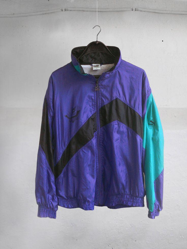 Vintage 90s womens Tracksuit Top Jacket windbreaker Purple Black Green size XL by VapeoVintage on Etsy