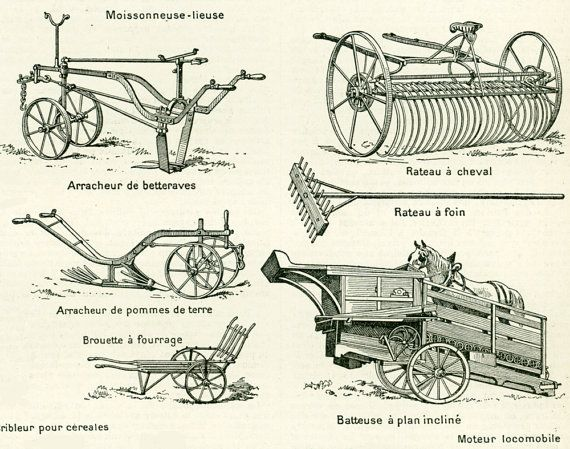 1897 Agriculture Grand format Materiel agricole Larousse
