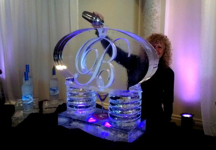 Single run monogram ice luge for a wedding reception