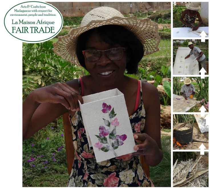 Flower decorated barkpaper. Photos to the right showing steps in the crafting process. Find a beutiful range of gift packaging, greeting cards and visitors books at La Maison Afrique FAIR TRADE. #fairtrade
