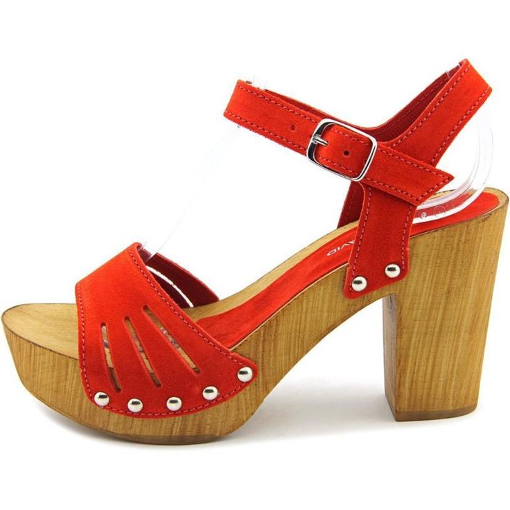 Charles David Coco Women  Open Toe Suede Red Platform Sandal