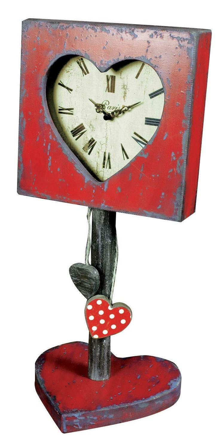 """Heart Felt Clock Stand. Height: 19.52"""" - 49cm Width: 8.5"""" - 22cm Depth: 8"""" - 20cm"""