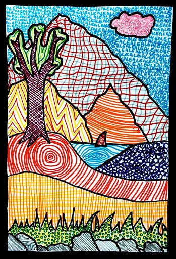 Using colored felt pens, a simple landscape is drawn & then each area is filled with a different texture...the effect is beautiful!