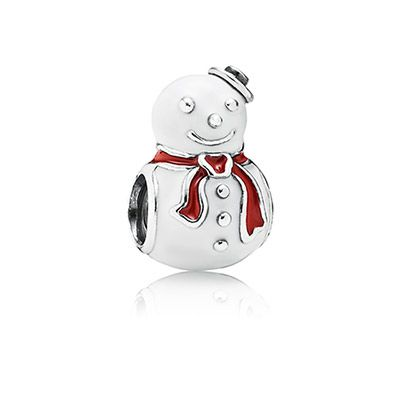 PANDORA | Happy Snowman, white & red enamel