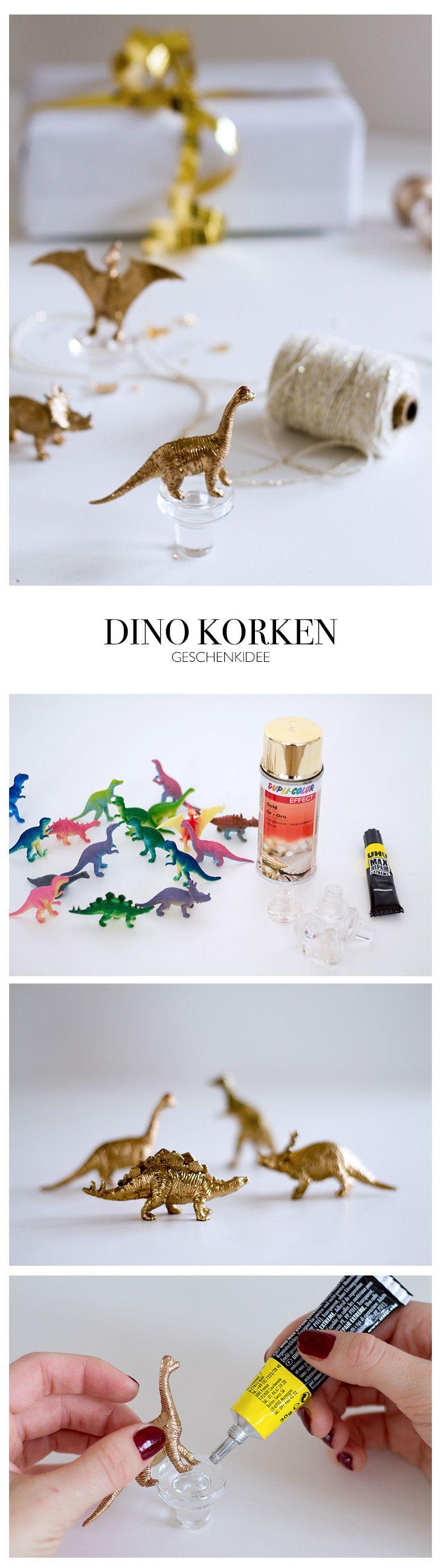 DIY Anleitung Geschenke für ihn - goldene Dinos als Weinkorken