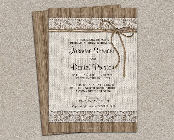This printable rustic rehearsal dinner invitation features a burlap and lace design with twine on rustic wood. We can customize this invitation
