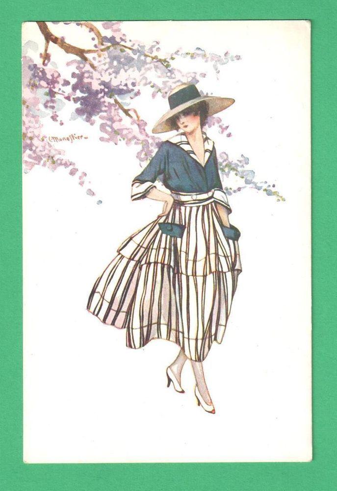 VINTAGE ITALIAN MONESTIER ART POSTCARD BEAUTIFUL LADY HAT SPRING CHERRY BLOSSOMS
