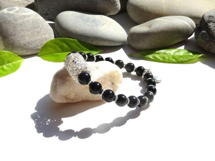 Bracelet en onyx noir,bijou chic,bohème,contrôle de soi,stabilité,anti-stress : Bracelet par lapassiondisabelle