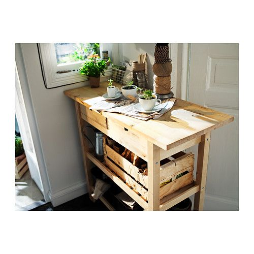 FÖRHÖJA Kitchen cart IKEA Gives you extra storage, utility and work space. - can stain it like so