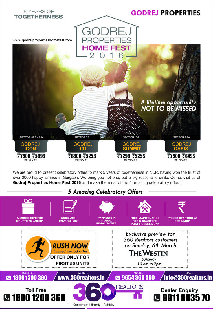 ‪#‎360Realtors‬ invites you to the preview of ‪#‎HomeFest‬ on 6th March 2016. Be a part of ‪#‎GodrejProperties‬ HomeFest 2016 and avail 5 Amazing celebratory offers. Venue: Hotel Westin, Gurgaon Timing: 10AM – 6PM