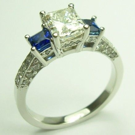 rings cut side side stones diamonds engagement princesses cut cut ...