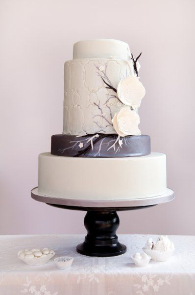 Gorgeous Wedding Cake - multi size tiers, multi colors with twigs and sugar paste flowers