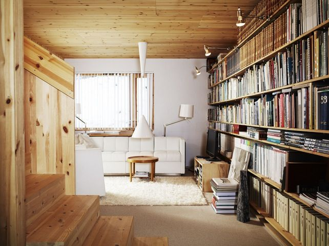 Books, books, and more books: Bookshelves, Reading Area, Living Rooms, Home Libraries, Wood, Interiors Design, Books Wall, Interiordesign, House