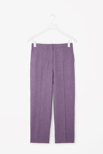 COS image 2 of Raw-cut wool trousers in Violet