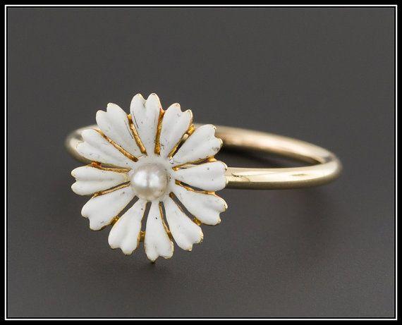 Anello margherita oro 14k Antico anello di Stick Pin