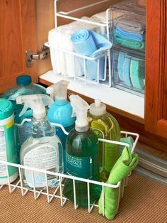 Load a cleaning caddy with your favorite cleaning supplies. Carry it with you from room to room to streamline the cleaning process: http://www.bhg.com/homekeeping/house-cleaning/tips/whole-house-cleaning-schedule/?socsrc=bhgpin011315makeitahabit&page=12