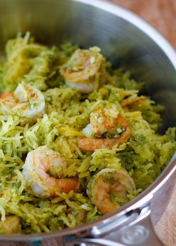 Spaghetti Squash with Pesto and Sautéed Shrimp- paleo