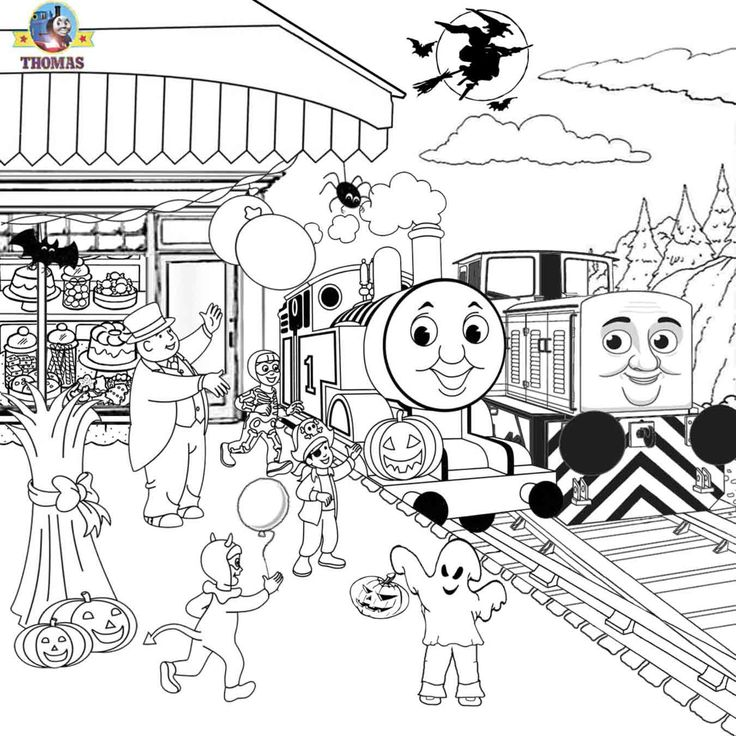 Diesel Den Thomas the train coloring pages free printables Halloween activities…