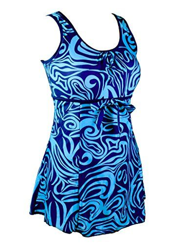 Womens Plus Size Swimdresses Swimsuits Floral One Piece Swimdress Swimwear Blue US2022 * You can get additional details at the image link.