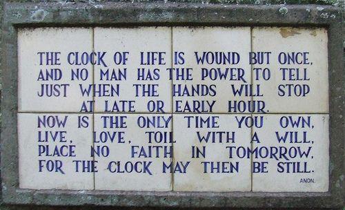 Poignant poem in Durban Botanic Gardens ...