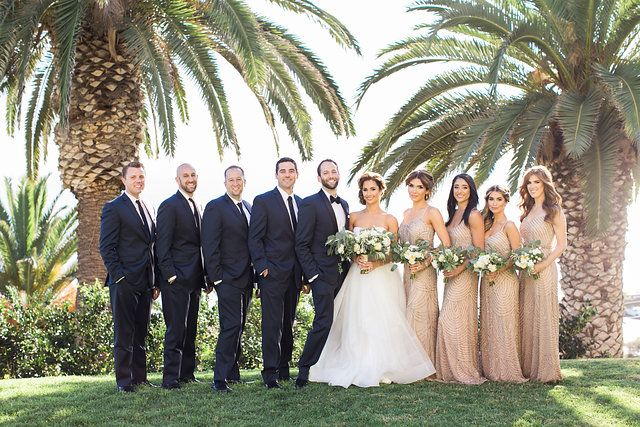 Gorgeous Bright And Colorful Bel Air Bay Club Wedding Malibu California Bridal Party Groomsmen Bri Navy Bridal Parties Bridal Party Groomsmen Gold Bridal Party