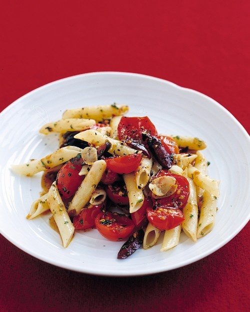 Tomato and Olive Penne, courtesy of Martha Stewart - we make this all summer long with fresh grape tomatoes from the garden.  Kalamata olives are a staple in my fridge because they go well in so many things.