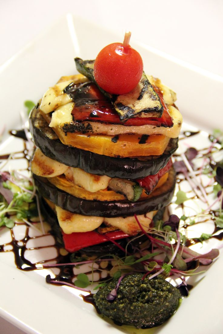Charred Roast Vegetable Stack with grilled haloumi, basil pesto and sticky apple balsamic.  You can see the entire menu at: http://www.seasonsonruthven.com/dinner.htm