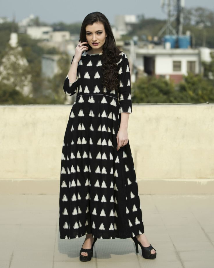 The secret label black cotton printed anarkali kurti for Floor length kurti