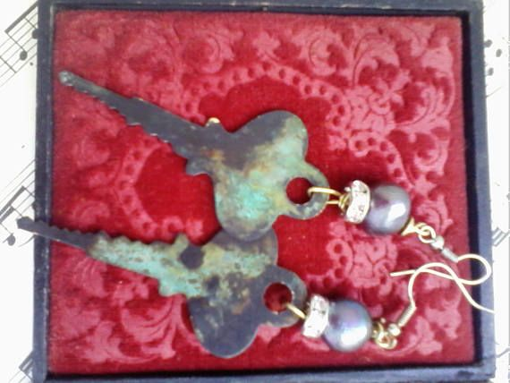 Handmade earrings industrial assemblage jewelry patinated