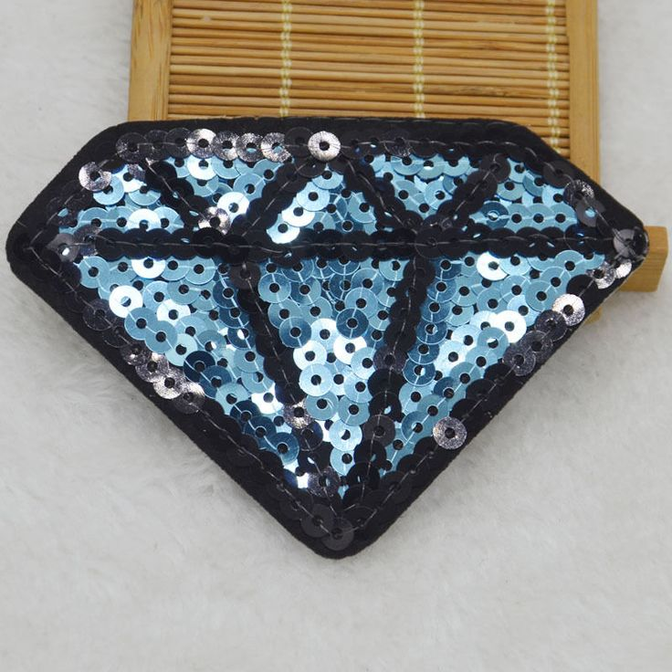 Carat Diamond Embroidered Iron on Patch sewn Applique FOR cloth backpack Sequin…