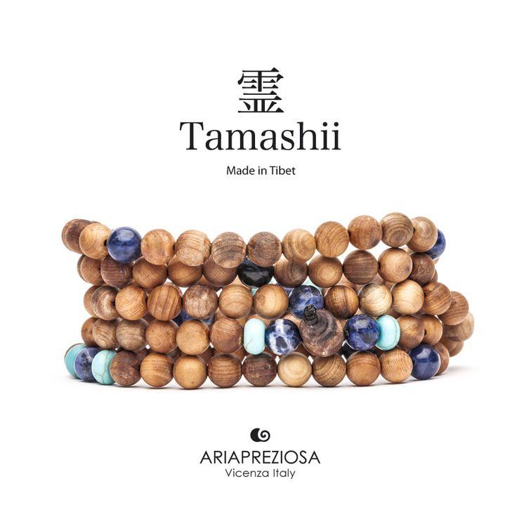 Tamashii - Mala Tibetana in Legno Hua Qi Nanmu profumato e pietre naturali Turchese e Sodalite
