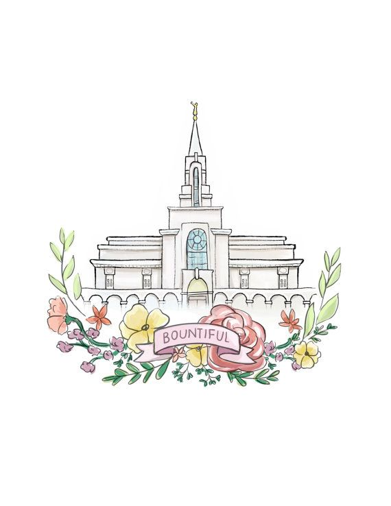 Bountiful Utah LDS Temple, Latter Day Saint, Mormon, Wedding gift, Relief Society, Flower wreath, watercolor painting, printable wall art