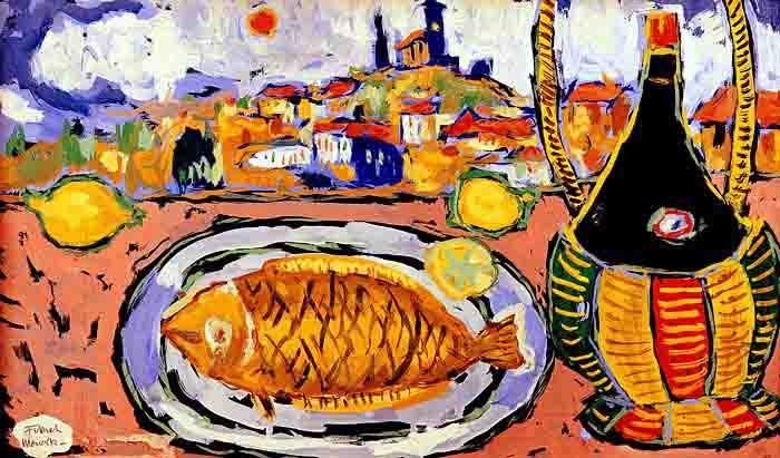 Fikret Mualla-Chianti Şişesi ve Balık