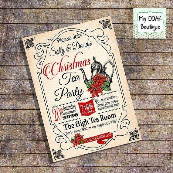 Christmas Tea Party Invitation Holiday Tea Party Invite By
