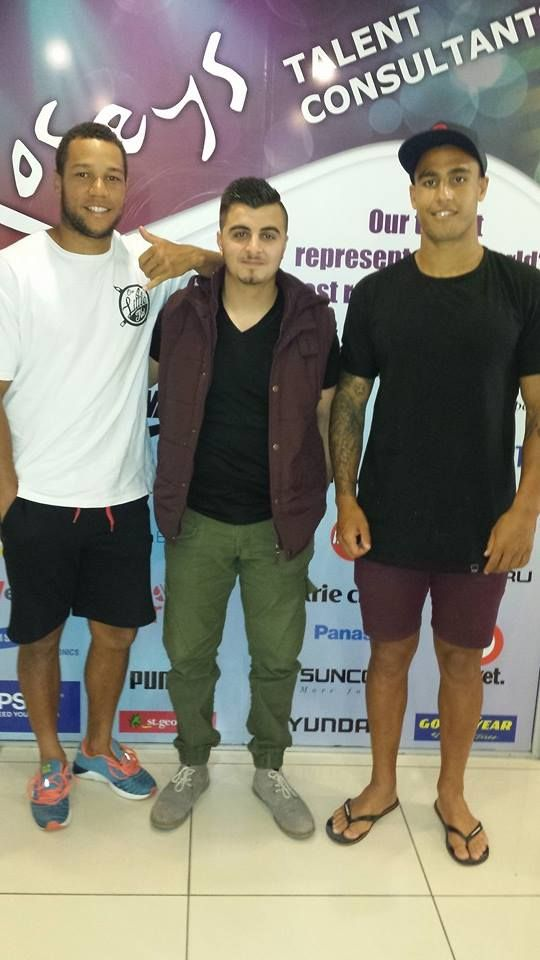 Josh with Moses Mbye and Michael Lichaa (Canterbury Bankstown Bulldogs Players)