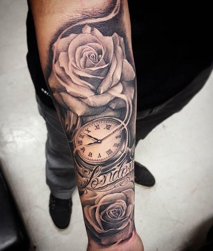 rose arm tattoos men arm tattoos clock tattoos tattoo arm clock tattoo ...